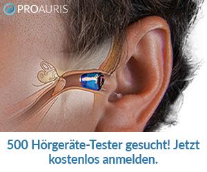 500 Tester gesucht: Jetzt ein nageleues PROAURIS Hörgerät kostenlos und unverbindlich testen und die neue Generation der Hörgeräte kennenlernen.
