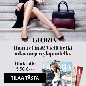 Gloria lehti + tilaajalahjaksi Roosa nauha sakset, klassikkoraitakassi tai mekkisetti