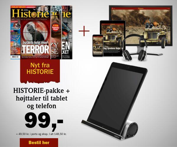 3 udgaver af HISTORIE + 2-i-1 højttaler til tablet og mobil for  99 kr.