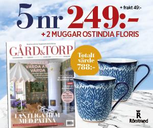 5 nummer av Gård och Torp för endast 249 kr + två vackra muggar från Rörstrand