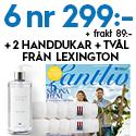 6 nr av Lantliv för endast 299 kr + 2 handdukar och handtvål från Lexington