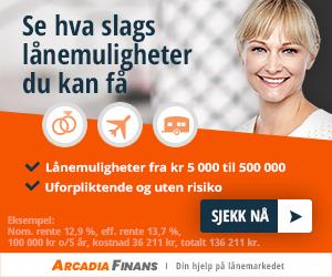 Bildet fra Arcadia Finans hvor det står at du kan se hvor mye et lån vil koste og søke nå